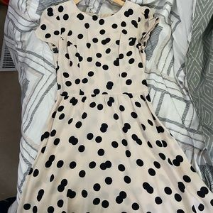 TopShop Cream and Black Polka Dot Dress